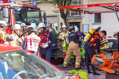 Firefighters getting ready to intervene on chemical accident location. Berlin, Germany - Sept 19: Big coordinated intervention of paramedics, police, and Stock Images