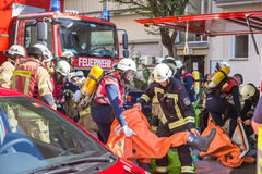 Firefighters getting ready to intervene on chemical accident location. Berlin, Germany - Sept 19: Big coordinated intervention of paramedics, police, and Royalty Free Stock Photo