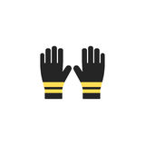 Firefighters gloves. Single silhouette fire equipment icon. Vector illustration. Flat style. Firefighters gloves. Single silhouette fire equipment icon. Vector Royalty Free Stock Photo