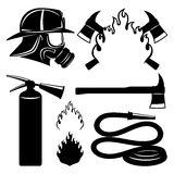 Firefighters icons set. Stock Photos