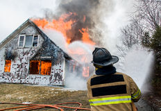 Firefighters at Live Burn Training Stock Image