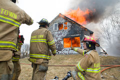 Firefighters at Live Burn Training Royalty Free Stock Photo