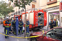 Firefighters in Madrid Royalty Free Stock Photo