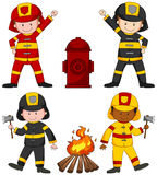 Firefighters and many equipments. Illustration Royalty Free Stock Photos