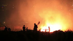 firefighters at night forest fire stock footage