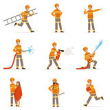 Firefighters in orange uniform doing their job set. Fireman in different situations cartoon vector Illustrations. On white background Stock Image