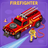 Firefighters 02 People Isometric. Firefighters with Hydrant Set 01. Interacting People Unique Isometric Realistic Poses. NEW bright palette 3D Flat Vector Icon Stock Images