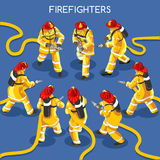 Firefighters 01 People Isometric. Firefighters with Hydrant Set 01. Interacting People Unique Isometric Realistic Poses. NEW lively palette 3D Flat Vector Icon Royalty Free Stock Images