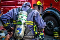 Firefighters are preparing to work. Thailand Bangkok - January 29 2018 : Firefighters are preparing to work,The fire at the Sampheng market Stock Image