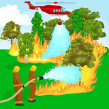 Firefighters in protective clothing and helmet with helicopter extinguish with water. From hoses dangerous wildfire.Man fighter rescue helicopter put out the Royalty Free Stock Image