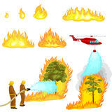 Firefighters in protective clothing and helmet with helicopter extinguish with water. From hoses dangerous wildfire.Man fighter rescue helicopter put out the royalty free illustration