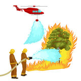 Firefighters in protective clothing and helmet with helicopter extinguish with water from hoses dangerous wildfire.Man. Fighter rescue helicopter put out the Royalty Free Stock Image