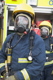 Firefighters in protective workwear. Firefighters in protective safety workwear Royalty Free Stock Image