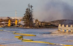 Firefighters put out last remains of a Churchill, Canada, Hotel fire. Stock Image