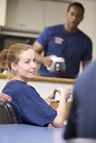 Firefighters relaxing in the staff kitchen Stock Image