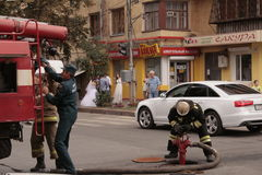 Firefighters in Russia. Firefighter working in the old city of Samara, Russia Stock Photo