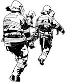 Firefighters and Saved Human on Stretcher. Black and White Illustration, Vector Stock Photo