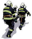 Firefighters and Saved Man on Stretcher. Colored Illustration, Vector Stock Photos