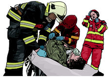 Firefighters and Saved Man on Stretcher. Colored Illustration, Vector Stock Image