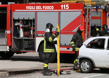 Firefighters at the scene of the accident Royalty Free Stock Images