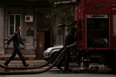 Firefighters scene II. Firefighters in the old city of Samara, Russia Stock Image
