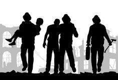 Firefighters silhouette Royalty Free Stock Photography