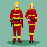 Firefighters in special red suits Stock Image