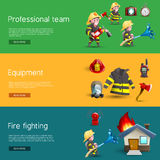 Firefighters Team Equipment Horizontal Banners. Firefighters service uniform and equipment information 3 horizontal banners webpage design with cartoon figures Stock Images