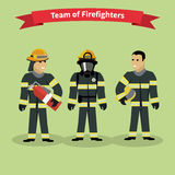 Firefighters Team People Group Flat Style. Fireman,and firefighter , firefighter helmet, safety service, danger and rescue, uniform protection illustration Stock Photography