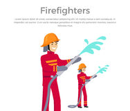 Firefighters Team People Group Flat Style. Fireman firefighters in uniform and a helmet to pour water from a hose. Vector illustration Royalty Free Stock Photos