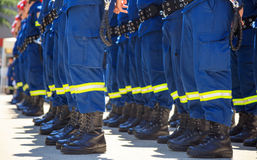 Firefighters in their uniforms standing in line. Rescuers wearing uniforms standing in deployment Royalty Free Stock Image