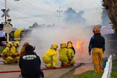 Firefighters train tanker. Royalty Free Stock Photos