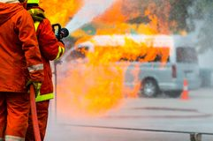Firefighters training royalty free stock photography