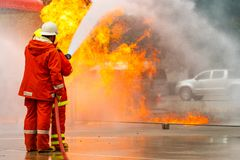 Firefighters training .fireman stock photography