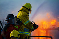 Firefighters training stock image
