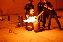 Firefighters training rehearsal for safety and knowledge. Royalty Free Stock Images