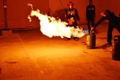 Firefighters training rehearsal for safety and knowledge. Stock Images
