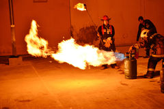 Firefighters training rehearsal for safety and knowledge. Royalty Free Stock Image