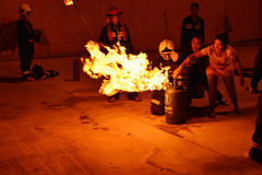Firefighters training rehearsal for safety and knowledge. Stock Image