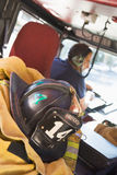 Firefighters travelling to an emergency.  Royalty Free Stock Photos
