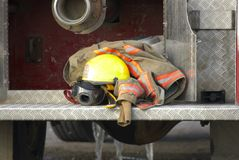 Firefighters truck and safety equipment Royalty Free Stock Photo