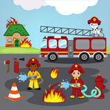 Firefighters trying to put out burning house. Cartoon Illustration of cute firefighters and puppy Stock Image