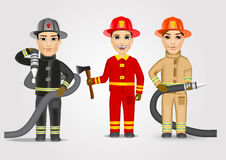 Firefighters in uniform with fire hose. Set of firefighters in uniform holding fire hose  over white background Stock Photography