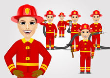 Firefighters in uniform with fire hose. Set of firefighters in red uniform holding fire hose  on white background Royalty Free Stock Photos