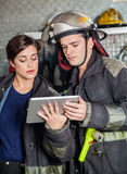 Firefighters Using Tablet Computer Stock Images