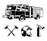 Firefighters vector elements for labels or logos. Helmet and axe, protection and rescue illustration Stock Image