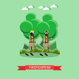 Firefighters vector illustration in flat style Royalty Free Stock Photo