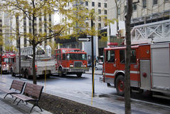 Firefighters vehicles in Montreal Royalty Free Stock Photography