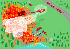 Firefighters via air and land transportation dispernses. Editable Clip Art. Stock Photography
