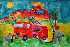 Firefighters at work painted by child royalty free stock images